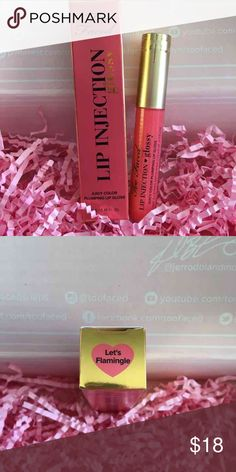 "Too Faced Lip Injection Glossy-""Lets Flamingle"" Too Faced Lip Injection Glossy in ""Lets Flamingle"".  Item is brand new and unused. Full sized item. Plumps your lips while glossing them in color as well!   Please ask any questions you may have prior to purchase, happy to help! Too Faced Makeup Lip Balm & Gloss"