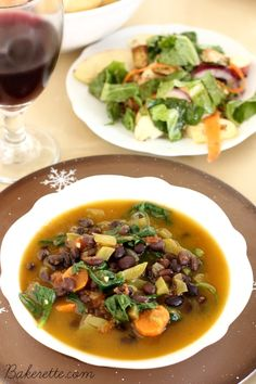 Dr. Furhman's Black Bean Quinoa Soup is a hearty meal full of nutritious ingredients to keep you warm, full, and healthy   Bakerette.com (low sodium, gluten free, low-fat, vegan)