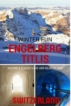 Winter activities in Engelberg and Mt Titlis in Central Switzerland with kids. Attractions included an igloo village, glacier cave and Europe's highest hanging bridge.