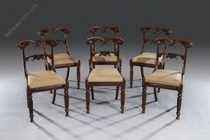 Six Regency Carved Mahogany Dining Chairs - Antiques Atlas