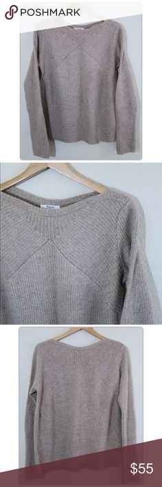 "Madewell Boatneck Knit Oversized Merino Wool M/L Brand:  Madewell Style:  Boatneck knit Size:  Oversized fit Condition:  Excellent pre-owned condition. Material:  100% Merino Wool Care: Dry Clean  Measurements lying flat Shoulder to shoulder:  15 1/2"" Chest:  23 1/2"" Sleeve length:  29 1/2"" Hem:  23 1/2 Length:  26"" Madewell Sweaters Crew & Scoop Necks"