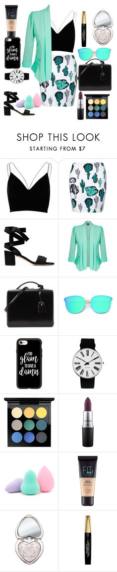 """""""Cactus Cutie"""" by mikya ❤ liked on Polyvore featuring River Island, City Chic, Mark Cross, Casetify, Rosendahl, MAC Cosmetics, Forever 21, Maybelline, Too Faced Cosmetics and L'Oréal Paris"""