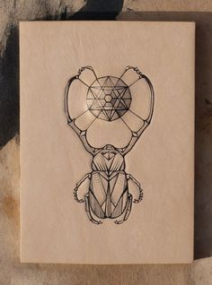 Tattooed leather art. Handmade. Inked with a tattoo machine. Original artwork. Geometric bug open with gems in a gift box. Entomology series...