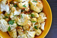 garlic parmesan roasted cauliflower - good, but I added cumin to give it some kick. I think these would be good with any flavorful seasoning (and less cheese!)
