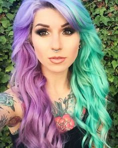 Half purple half green hair