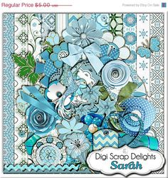 Digital Scrapbooking :Hummingbird Scrapbook Kit (Blue & Green) Buy 2 Items Get 1 Free Special