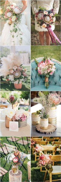 40 Trend Protea Wedding Ideas for 2016 Modern Wedding Flowers, Flower Crown Wedding, Boho Wedding, Floral Wedding, Wedding Colors, Rustic Wedding, Trendy Wedding, Wedding Table, Wedding Ring