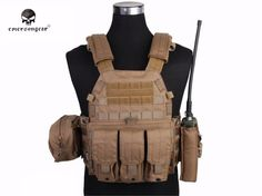 EMERSON LBT6094A Molle Style Vest with Radio Tool Bag Magazine Pouches Airsoft Painball Camouflage Vest Hunting Wear EM7440