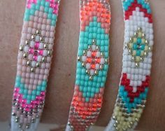 Loom beaded bracelet with waxed cord / Beaded bracelet made with Miyuki delica beads / Native inspired bracelet Beaded Braclets, Bead Loom Bracelets, Beaded Jewelry, Bead Loom Patterns, Bracelet Patterns, Beading Patterns, Gypsy Bracelet, Bohemian Bracelets, Diy Gifts For Friends