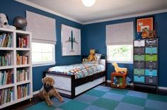 modern toddler-room-ideas. I like the colorful locker-room looking shelves.
