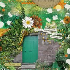 Secret Garden Door Kit: Secret Garden from Melo Vrijhof I also used Messy Stitching 1 Kit from Melo. Secret Garden Door, Garden Doors, Door Kits, My Design, Scrapbooking, Scrapbook Layouts, The Secret, Green, Stitching