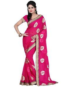 Indian House Elegant Pink Colour Georgette Saree Online At Aimdeals.com - 01