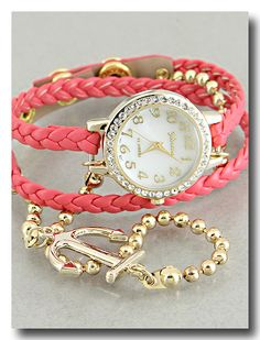 P.S. I Love You More | Coral Anchor Bracelet Watch. Shop online at: psiloveyoumore.storenvy.com