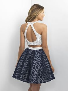 Blush Prom 11184 Off White/Navy Homecoming Dress
