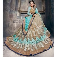 Elegant Beige and Ice Blue Embroidered Saree