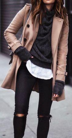 fall winter street style. black. white. camel coat.