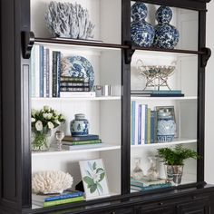 Library Bookcase Styling Shelfie Styling Blue and White Blue White and Green Interior Decorating Interior Styling Interior Design Hamptons Hamptons Style Home Living Room, Living Room Decor, Coastal Living Rooms, Bookcase Styling, Decorating Bookshelves, Decoration Bedroom, White Decor, Painted Furniture, Home Accessories