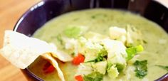 Tip Hero: Avocado Chicken Tortilla Soup--This looks awesome! I love the idea of using avocado to make the liquid part of the sauce! So cool!