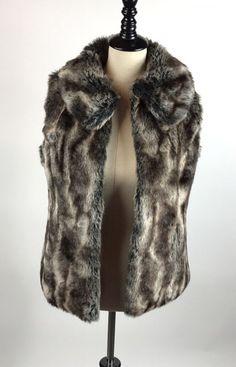 Rachel Zoe Women's Faux Fur Soft Winter Brown Fluffy Vest Pockets XS #RachelZoe
