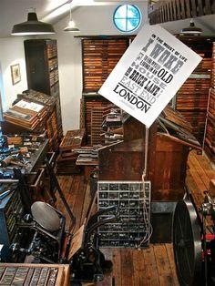 Heaven! inspiring letterpress space Typoretum via Spitalfields Life #LoveLetterpress