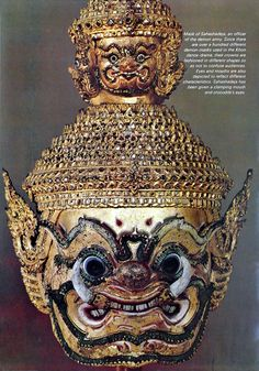 Mask of 'Sahashadeja', a general officer of demon army. From 'Masks of Khon' : Khon, the traditional dance-drama of thailand, originated from India, via Java and Malaysia, probably in the fifteenth century. Its basic plot comes from the semi-religious epic, 'Ramakien', which is Thailand's version of the 3,000-year-old Hindu drama, 'Ramayana'. Source: 'Orientations Magazine', Feb, 1972. Photographed by Dinshaw Balsara.