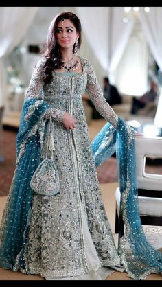 If you're looking for an alternative to the lehenga style, then this floor length blue anarkali lehenga is perfect for that sister of the bride look. #frugal2fab