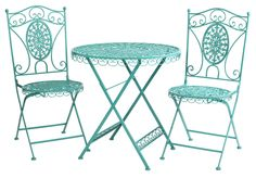 The Piazza Bistro Set - Aqua from Urban Barn is a unique home décor item. Urban Barn carries a variety of New Furniture and other products furnishings. Bistro Patio Set, Bistro Chairs, Bistro Decor, Furniture Sale, Outdoor Furniture Sets, Outdoor Decor, Outdoor Spaces, Outdoor Retreat, Outdoor Stuff