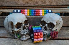 3 Row Multi Colour Pyramid Studded Wristband (P) £2.99 From PUNKTRASH