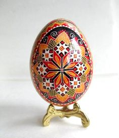 Pysanka traditional design, Ukrainian Easter egg, batik decorated chicken egg shell. $39.95, via Etsy.