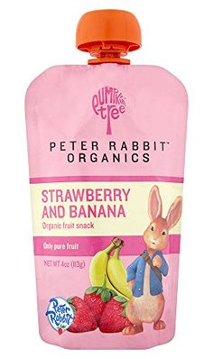 Amazon.com : Peter Rabbit Organics, Organic Strawberry and Banana 100% Pure Fruit Snack, 4.0-Ounces Pouches, (Pack of 10) : Baby Food Fruit : Grocery & Gourmet Food