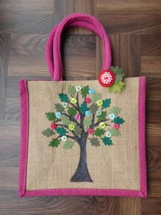 Items similar to Personalised hand made Oak Tree large lunch jute bag on Etsy - - Items similar to Personalised hand made Oak Tree large lunch jute bag on Etsy home decor Oak Tree teacher gift large lunch jute bag by JENNYEDDENDESIGNS Jute Crafts, Fabric Crafts, Personalised Jute Bags, Hessian Bags, Painted Bags, Diy Tote Bag, Embroidery Bags, Craft Bags, Linen Bag