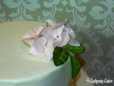 hand made Gum paste sugar Hydrangea with foliage rose leaves by Euthymia Cakes. Available in our Etsy shop!