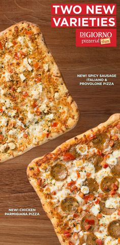 We have 2 new delicious Pizzeria! Thin pizzas you need to introduce during your next occasion - Spicy Sausage Italiana and Chicken Parmigiana! Both have one-of-a-kind thin crust that's drizzled with extra-virgin olive oil.