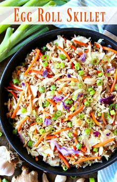The simple, fresh flavors of this Egg Roll Skillet meal create a tasty dinner the entire family will love in less than 30 minutes. This also means that there is only one pan to clean. This family-friendly meal is perfection! Easy Healthy Dinners, Easy Dinner Recipes, Healthy Recipes, Dinner Ideas, Easy Skillet Meals, 30 Minute Meals, Egg Rolls, Asian, Cooking Recipes