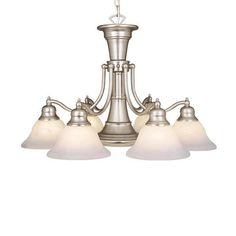 Cascadia Lighting Standford 26-in 7-Light Brushed nickel Alabaster Glass Shaded Chandelier