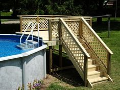 Above Ground Pool Deck Inch Premium Above Ground Pool Fence Kit In The Swim. How To De Boring The Outside Of An Above Ground Pool . Home and furniture ideas is here Above Ground Pool Landscaping, Above Ground Pool Decks, Backyard Pool Landscaping, Above Ground Swimming Pools, Pool Fence, In Ground Pools, Patio Fence, Landscaping Ideas, Swimming Pool Decks