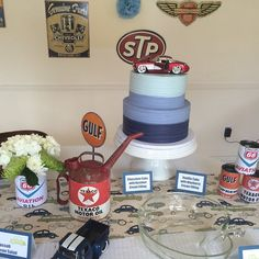 vintage car themed baby shower with blue ombr texture cake