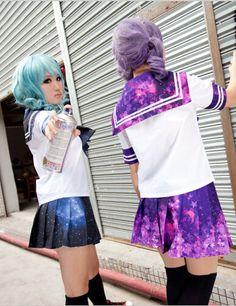 [crop top and skirt set]Harajuku Galaxy Short Sleeve Uniform - Thumbnail 2