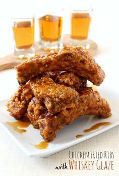 Chicken Fried Ribs with Whiskey Glaze - you've never had ribs like this before and you're going to love them- trust me! #appetizers #whiskey #friedfood