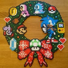 Nintendo Christmas wreath perler beads by pxl_craft