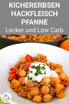 Chickpea Minced Pan - Low Carb Dish- Kichererbsen Hackfleisch Pfanne – Low Carb Gericht Minced meat recipe: This quick and low-calorie low-carb chickpea minced meat pan is perfect for lunch or dinner. Healthy Low Carb Dinners, Low Carb Dinner Recipes, Healthy Dinner Recipes, Easy Meals, Low Carb Chicken Recipes, Beef Recipes, Low Carb Breakfast Easy, Carne Picada, Rigatoni