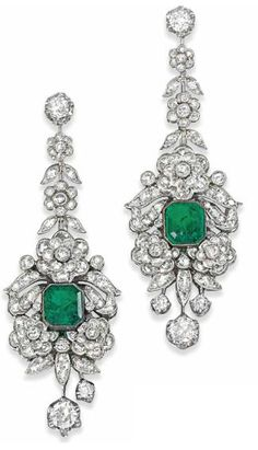 A PAIR OF EMERALD AND DIAMOND EAR PENDANTS. Christie's. Gems Jewelry, Fine Jewelry, Jewellery, Diamond Earing, Diamond Pendant, Emerald Earrings, Pendant Earrings, Elizabeth Taylor Jewelry, Antique Jewelry