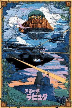 Kilian Eng - Laputa - Castle in the Sky - NT Mondo Ghibli Stout Miyazaki Art Studio Ghibli, Studio Ghibli Movies, Studio Ghibli Poster, Castle In The Sky, Kilian Eng, Hayao Miyazaki, Howls Moving Castle, Totoro, Animes Wallpapers