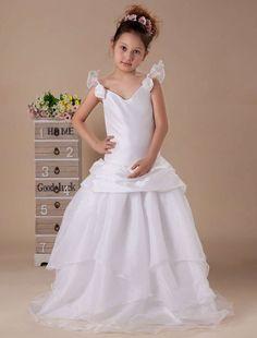 White A-line V-neck Taffeta Floor Length Flower Girl Dress - Party Dresses