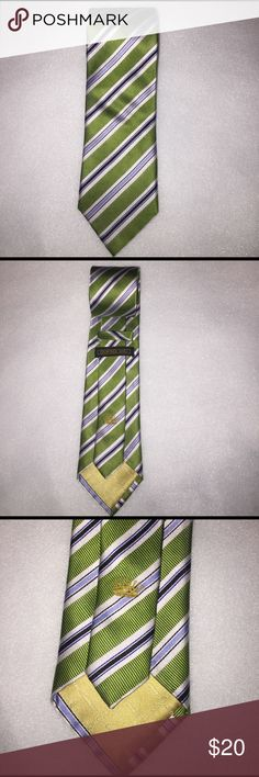 "NWOT Countess  Mara Men's tie green This a beautiful Countess Mara Men's tie it is 60"" long 3"" wide it has big diagonal green stripes and small diagonal white bleu and light bleu stripes 100% silk Countess Mara Accessories Ties"