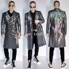 Jackets Multicolor Sequins Long Style Men Jacket Costume Nightclub Bar Singer Dancer Luxury Outfit Coat Stage Dj Ds Performance Clothes Fragrant Aroma