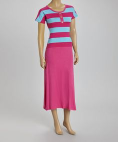 Another great find on #zulily! Pink & Blue Stripe Short-Sleeve Dress by BellaBerry #zulilyfinds