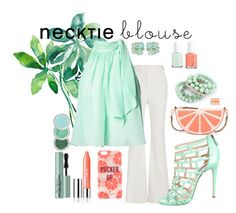 """""""Necktie Blouse: Mint and Coral"""" by tris1316 ❤ liked on Polyvore featuring Proenza Schouler, Matthew Williamson, Ruthie Davis, Kate Spade, Repossi, Clinique, Too Faced Cosmetics, Essie, contestentry and falltrend"""