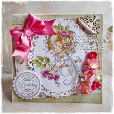"Suzi Mac Creations : Magnolia-licious DT ""W""ednesday post. Image is from Wee Stamp called Rowan Fairy.  My papers are Maja Design Coffee in the Arbour and are a perfect match with the images colouring.  Flowers are from I am Roses and my  sentiment is from Lili of the Valley."