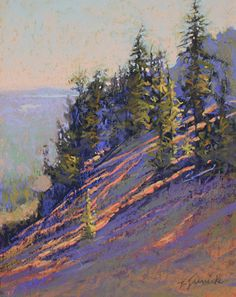 """Daily Paintworks - """"Morning Rays on the Mountainside"""" - Original Fine Art for Sale - © Barbara Jaenicke Pastel Landscape, Landscape Artwork, Landscape Drawings, Watercolor Landscape, Abstract Landscape, Watercolor Paintings, Soft Pastel Art, Pastel Artwork, Pastel Drawing"""